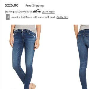 AG The Legging Raw Hem Ankle Skinny Jeans.